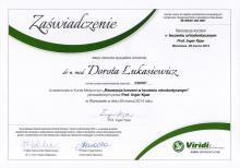Dorota Łukasiewicz Certyfikat Resorpcja korzeni w leczeniu ortodontycznym