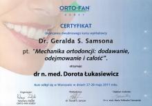 Dorota Łukasiewicz Certyfikat Mechanika ortodoncji